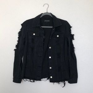PrettyLittleThing Black Distressed Denim Jacket